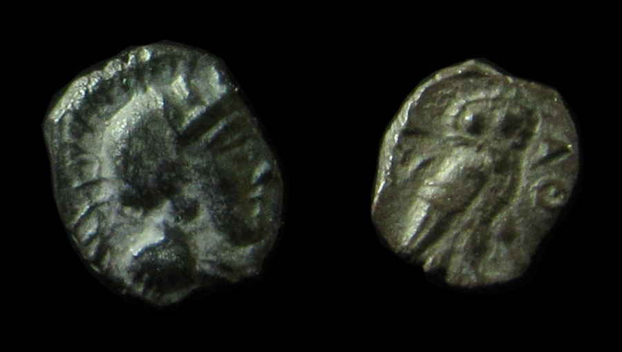 "Ancient Coins - Philistia,  Silver Ma'eh / ""Obol"", circa 380 until 332 B.C (0.43 g.), Superb & Rare!!!!"