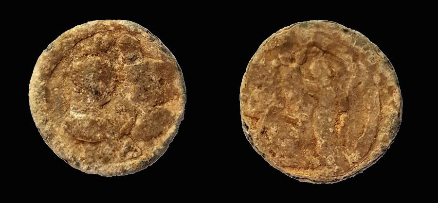 Ancient Coins - Egypt, Alexandria. Festival of Isis. Lead tessera: Antinous and Isis. 21 mm.