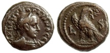 Ancient Coins - GORDIAN III, ALEXANDRIA IN EGYPT, TETRADRACHM, EAGLE STG LEFT WITH HEAD RIGHT, YEAR 6, MILNE 3458