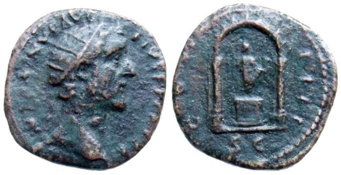 Ancient Coins - ANTONINUS PIUS, DUPONDIUS, ROME MINT, STATUE WITHIN SHRINE, RIC 1014 (SCARCE)