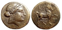 Ancient Coins - KYME IN AEOLIS, AE 20mm, DIADEMED HEAD OF THE AMAZON KYME RIGHT, HORSE RIGHT WITH CUP IN RIGHT FIELD