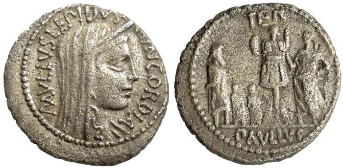 Ancient Coins - L AEMILIUS LEPIDUS PAULLUS, 62 BC, DENARIUS, ROME MINT, CRAWFORD 415/1
