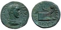 Ancient Coins - PHILIP I, AE 20mm, COELA IN CHERSONIC THRACE, PROW REVERSE, SCARCE BALKAN MINT, EVEN PALE GREEN TONING