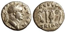 Ancient Coins - VESPASIAN, DENARIUS, ROME MINT, SACRIFICIAL IMPLEMENTS, RIC 43