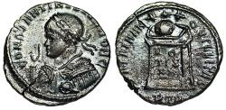 Ancient Coins - Constantine II BEATA from Trier with imperatorial gestus