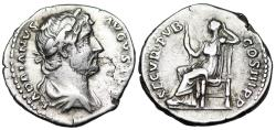 Ancient Coins - Hadrian SECVR PVB COS III; Securitas from Rome