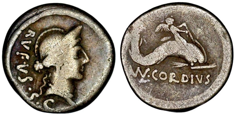 Ancient Coins - Mn. Cordius Rufus Cupid on dolphin denarius