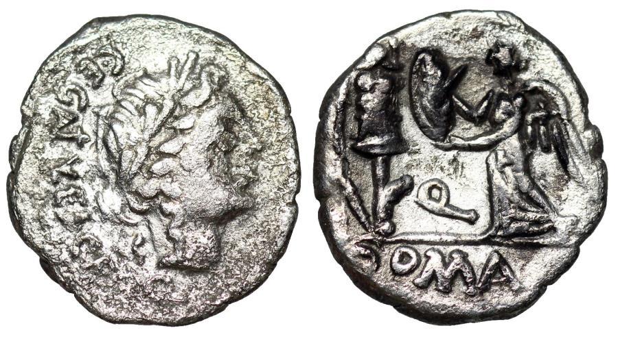 Ancient Coins - ROMAN REPUBLIC. C. Egnatulieus C. f.  97 B.C. AR quinarius Victory erecting trophy