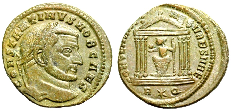 Ancient Coins - Constantine I as Caesar CONSERVATORES VRB SVAE from Rome