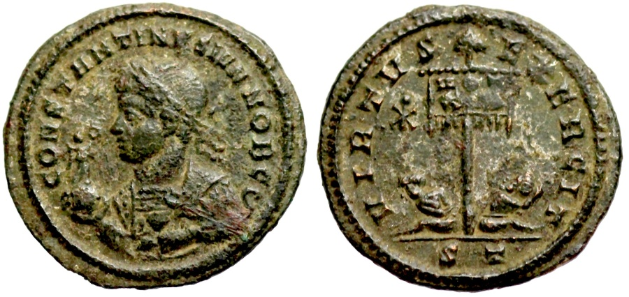 Ancient Coins - Constantine II VIRTVS EXERCIT from Ticinum with Iota-Chi