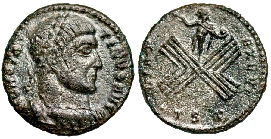 Ancient Coins - Constantine I VIRT EXERC from Thessalonica