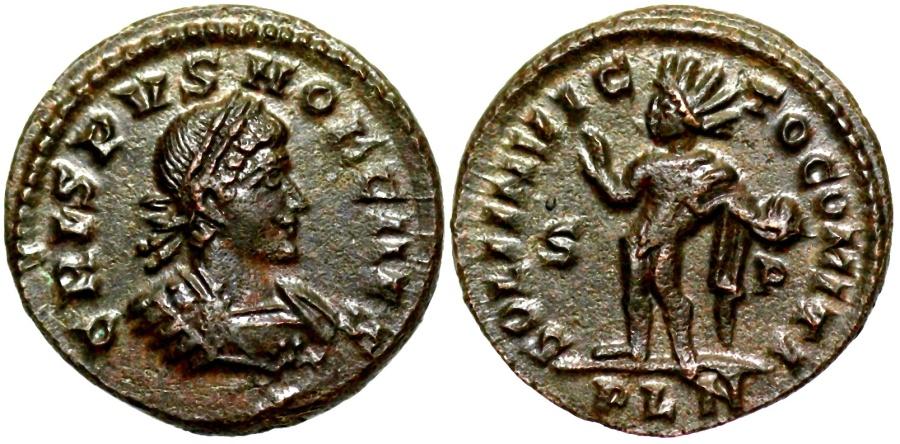 Ancient Coins - Crispus SOLI INVICTO from London