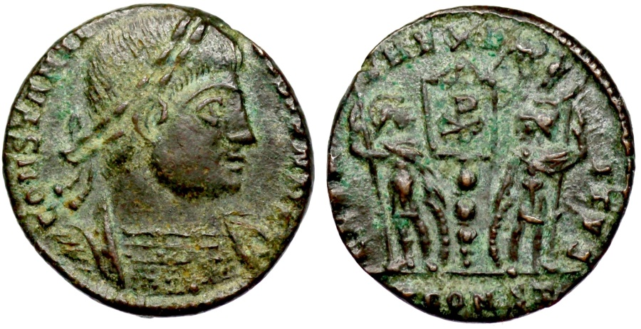 Ancient Coins - Constantine II GLORIA EXERCITVS from Arles...Chi-Rho on banner