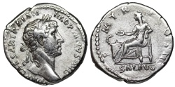 Ancient Coins -  Hadrian PM TR P COS III Salus from Rome