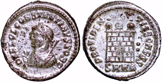Ancient Coins - Constantine II campgate from Heraclea…Not in RIC…NGC certified mint state with silvering