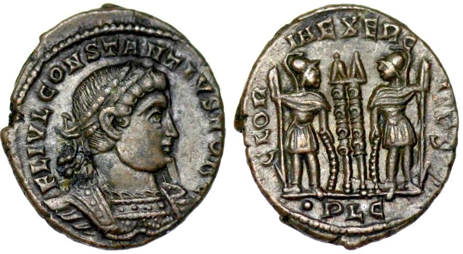 Ancient Coins - Constantius II GLORIA EXERCITVS from Lyons