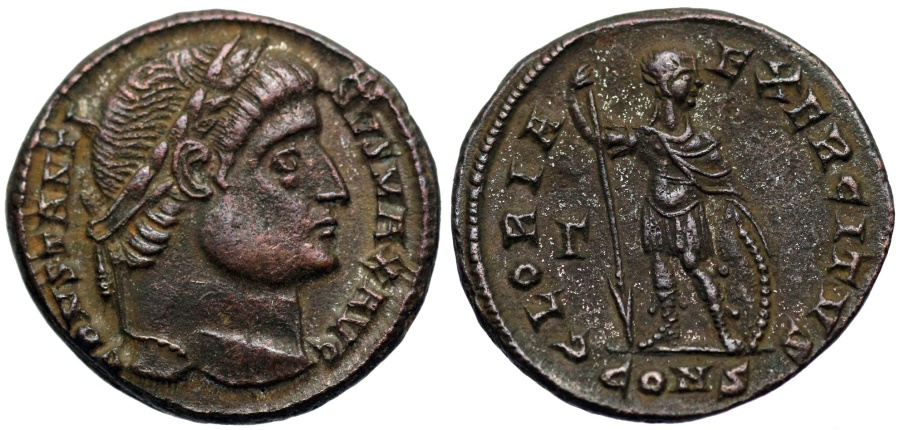 Ancient Coins - Constantine I GLORIA EXERCITVS from Constantinople