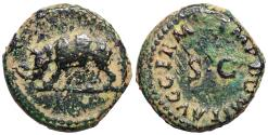 Ancient Coins - Domitian quadrans from Rome with rhinoceros