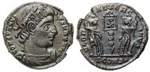 Ancient Coins - Constantine I GLORIA EXERCITVS from Arles with Chi-Rho on standard