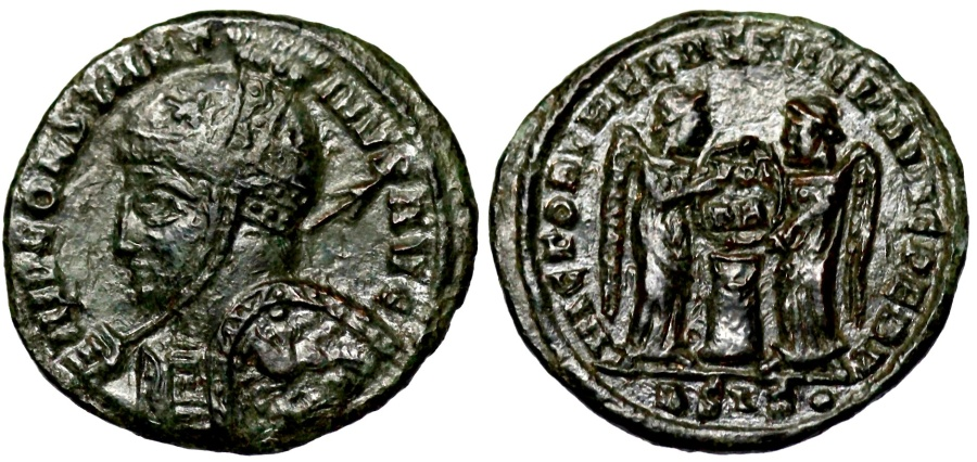 Ancient Coins - Constantine I VLPP from Siscia with horseman on shield going wrong way