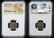 """Ancient Coins - Constantine I campgate from Antioch…""""death""""(Thanatos) workshop…NGC certified MS with silvering"""