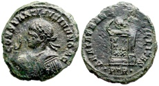 Ancient Coins - Constantine II BEATA TRANQVILLITAS from Trier with imperatorial gestus…Not in RIC