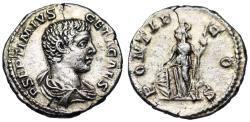 Ancient Coins - Geta PONTIF COS; Minerva reverse from Rome