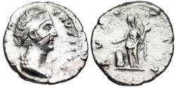Ancient Coins - Faustina I AVGVSTA denarius with Vesta reverse from Rome