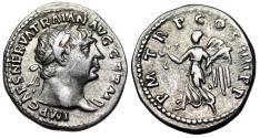 Ancient Coins - Trajan P M TR P COS IIII P P; Victory from Rome