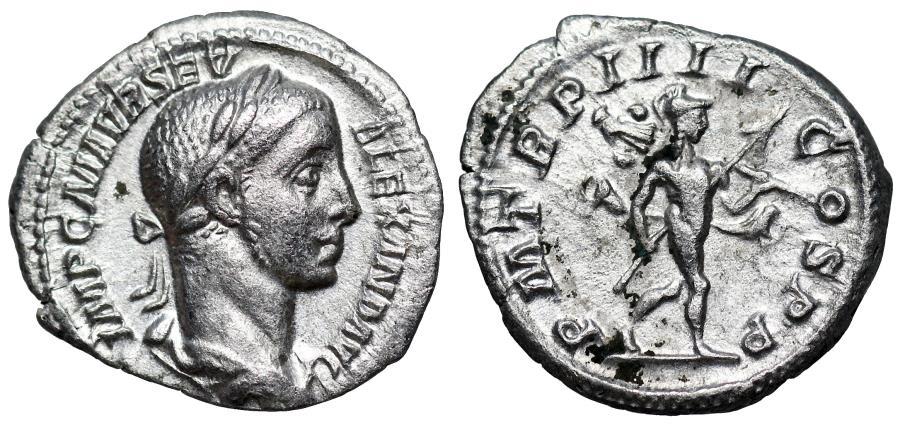 Ancient Coins - Severus Alexander P M TR P IIII COS P P; Mars denarius from Rome