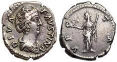 Ancient Coins - Faustina I VESTA denarius from Rome