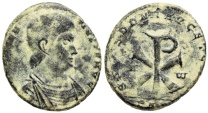 Ancient Coins - Magnentius SALVS DD NN AVG ET CAES from Trier...large Chi-Rho reverse
