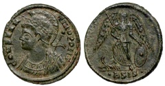 Ancient Coins - Constantinopolis Commemorative victory on prow from Siscia...eyes to heaven