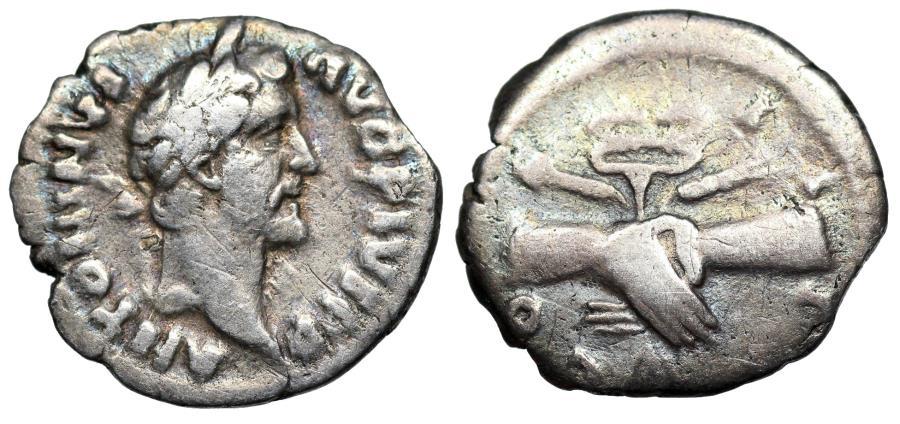Ancient Coins - Antoninus Pius COS IIII; Clasped hands denarius from Rome