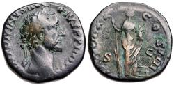 Ancient Coins - Antoninus Pius sestertius with Annona reverse from Rome
