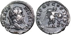 Ancient Coins - Septimius Severus P M TR P XV COS III P P, Victory inscribing shield on palm tree