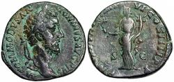 Ancient Coins - Commodus TR P VIIII IMP VI COS IIII P P Pax sestertius from Rome