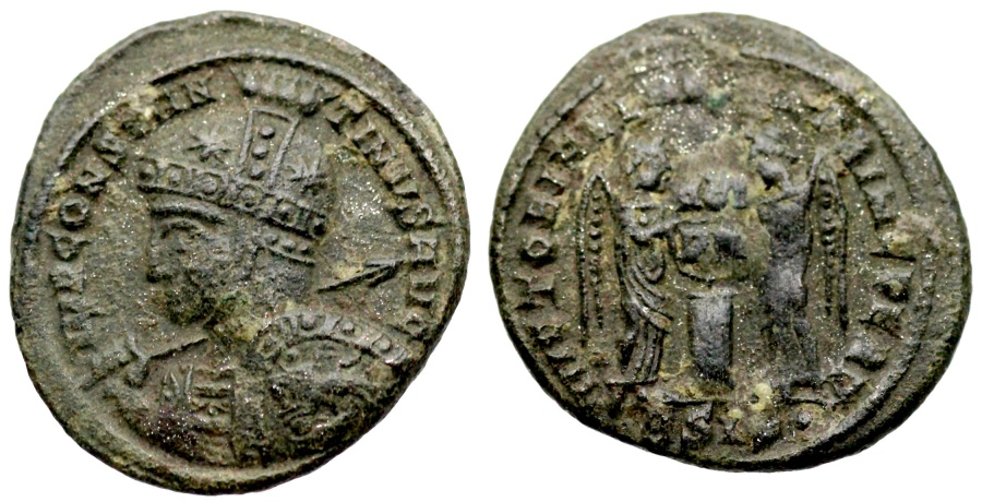 Ancient Coins - Constantine I VLPP from Siscia with horseman on shield leaping left instead of right