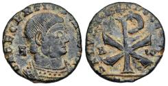 Ancient Coins - Decentius SALVS DD NN AVG ET CAES Chi-Rho reverse from Arles...Not in RIC