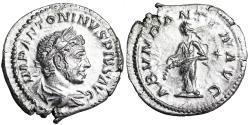 Ancient Coins - Elagabalus ABVNDANTIA AVG; Abundantia denarius from Rome