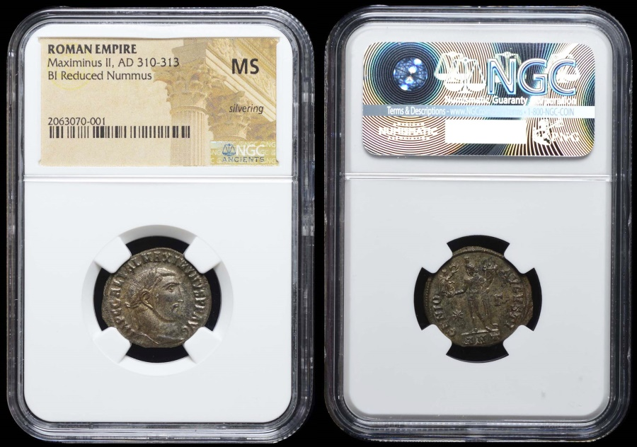 Ancient Coins - Maximinus II GENIO AVGVSTI from Antioch…NGC slabbed MS with silvering