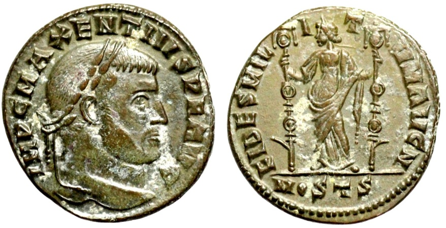 Ancient Coins - Maxentius FIDES MILITVM from Ostia