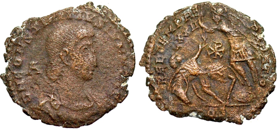 Ancient Coins - Constantius Gallus FEL TEMP fallen horseman from Aquileia with Chi-Rho