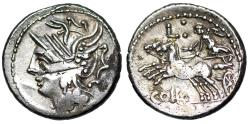 Ancient Coins - Caldus 104 BC Republican denarius… with old holder from the Roman Baths