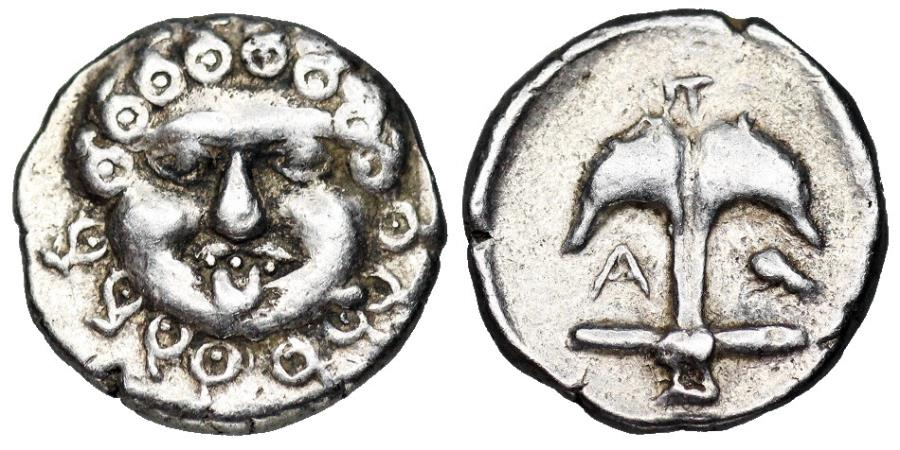 Ancient Coins - Apollonia Pontika, Thrace. 470- 450 BC. Gorgon and anchor with crayfish
