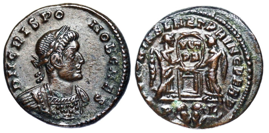 Ancient Coins - Crispus VICTORIAE LAET PRINC PERP from Lyons