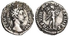 Ancient Coins - Commodus TR P VIII IMP V COS IIII P P; Mars from Rome