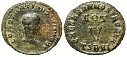 Ancient Coins - Constantine II votive from Thessalonica