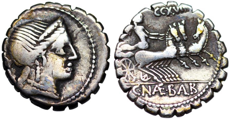 Ancient Coins - Balbus denarius [79 BC] with triga…old holder from Roman Baths