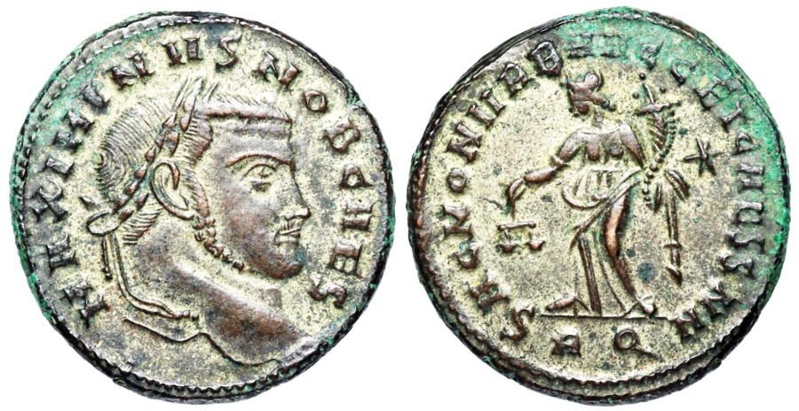 Ancient Coins - Maximinus II SAC MON VRB AVGG ET CAESS NN from Rome